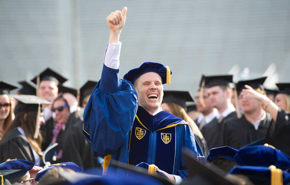 May 19, 2013; Graduates celebrate during the 2013 Commencement ceremony in Notre Dame Stadium. Photo by Barbara Johnston/University of Notre Dame