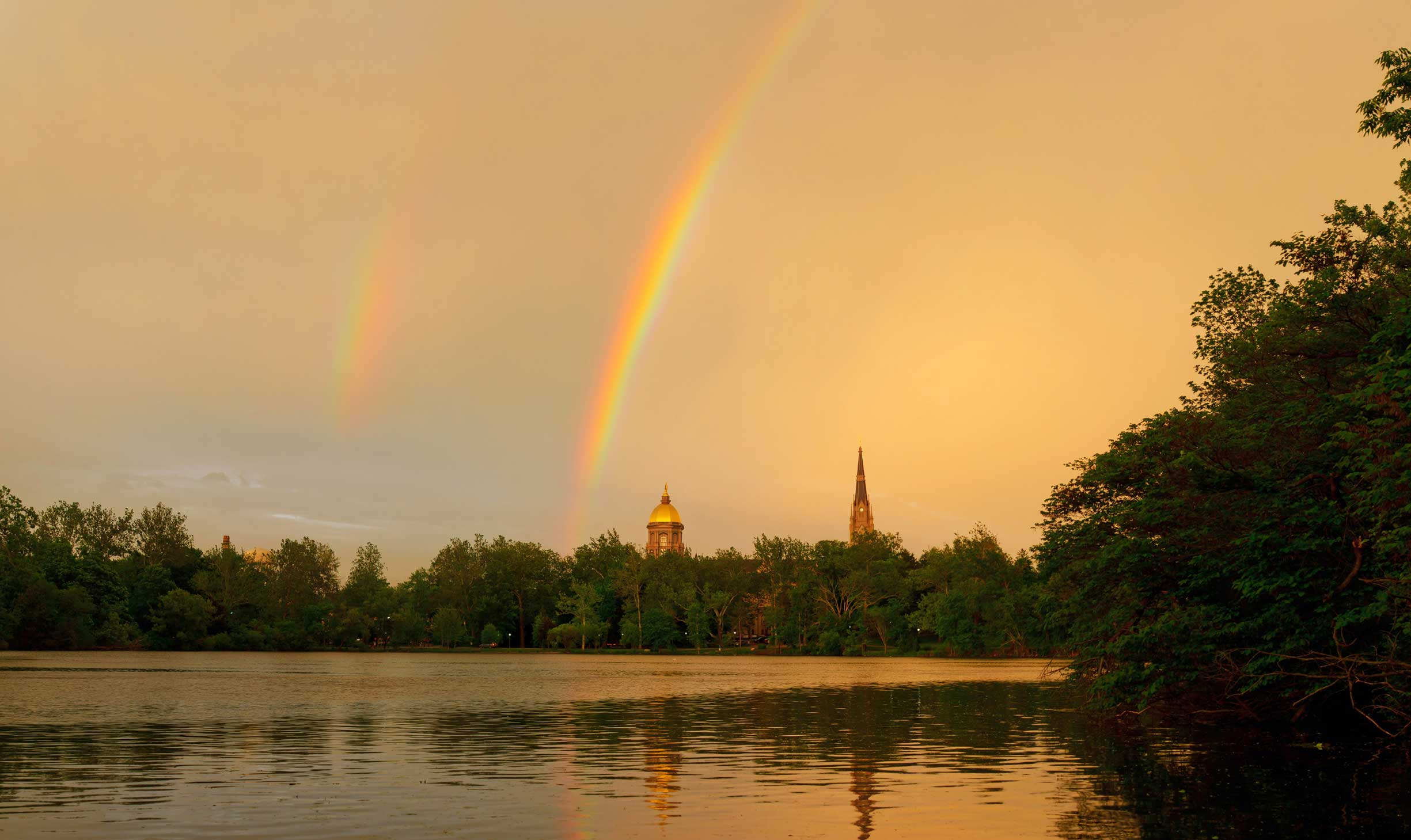 May 31, 2013; Dome and Basilica with a rainbow. Photo by Matt Cashore/University of Notre Dame