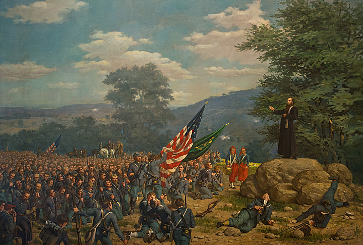 Painting of Fr. Corby giving a general absolution to the Irish Brigade before the Battle of Gettysburg.  Painting was done in 1891 by Paul Wood, a Notre Dame student at the time. Photographed with permission from the Snite Museum of Art.