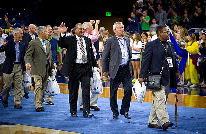 The 1973 National Champions were the guests of honor at Friday night's pep rally in the Purcell Pavilion.