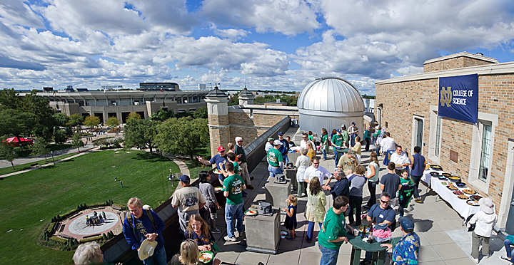 The College of Science enjoyed the perfect weather with a tailgater on the Jordan Hall of Science observatory deck.