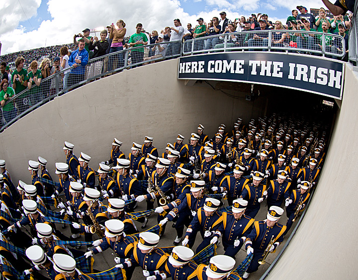 The Notre Dame Marching Band takes the field.