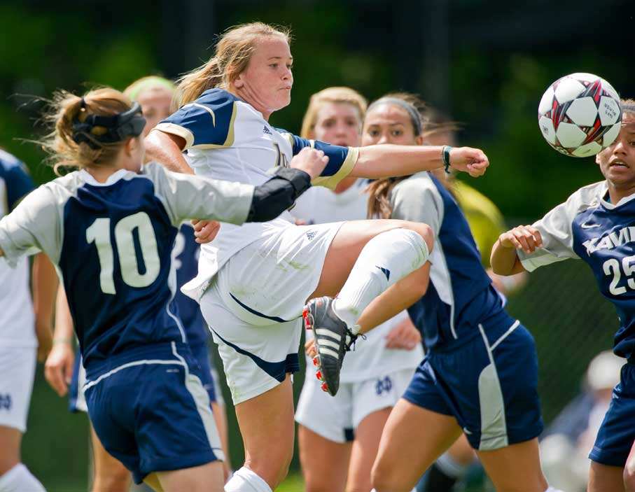 Aug. 14, 2013; Women's Soccer pre-season game vs. Xavier. Sammy Scofield (11) scores a goal. Photo by Matt Cashore/University of Notre Dame