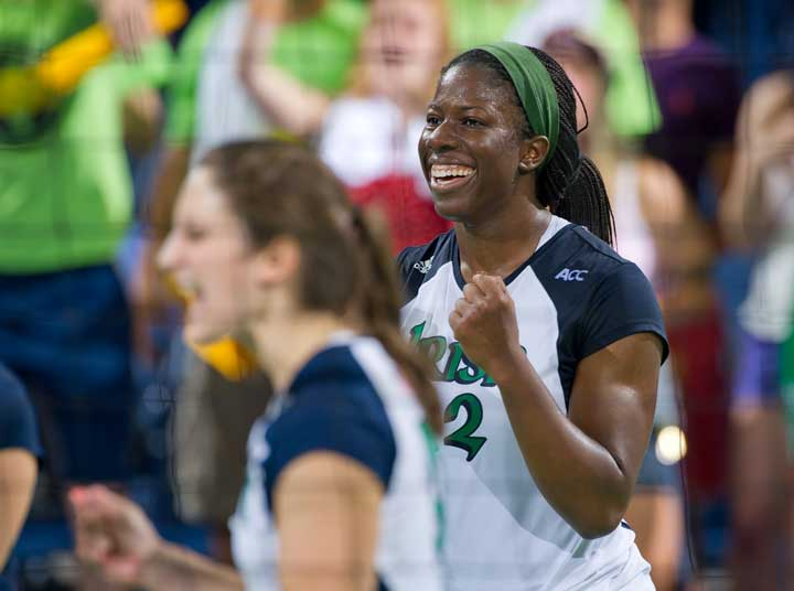 Sept. 6, 2013; Volleyball Toni Alugbue (12) Photo by Matt Cashore/University of Notre Dame