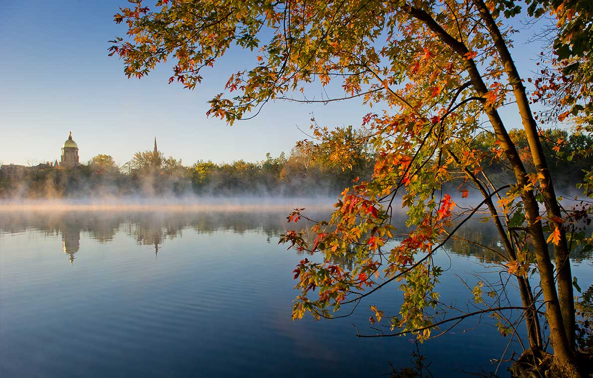 Oct. 14, 2013; Morning mist on St. Joseph Lake. Photo by Matt Cashore/University of Notre Dame