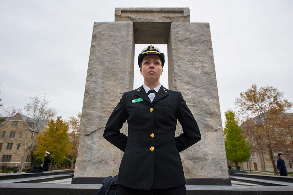 Nov. 11, 2013; Nov. 11, 2013; Cadets and midshipmen from the University's Army, Navy and Air Force ROTC units participate in the Clarke Memorial Fountain vigil, standing guard from 4:30 p.m. Nov. 10 (Sunday) to 4:30 p.m. Nov. 11.. Photo by Barbara Johnston/University of Notre Dame