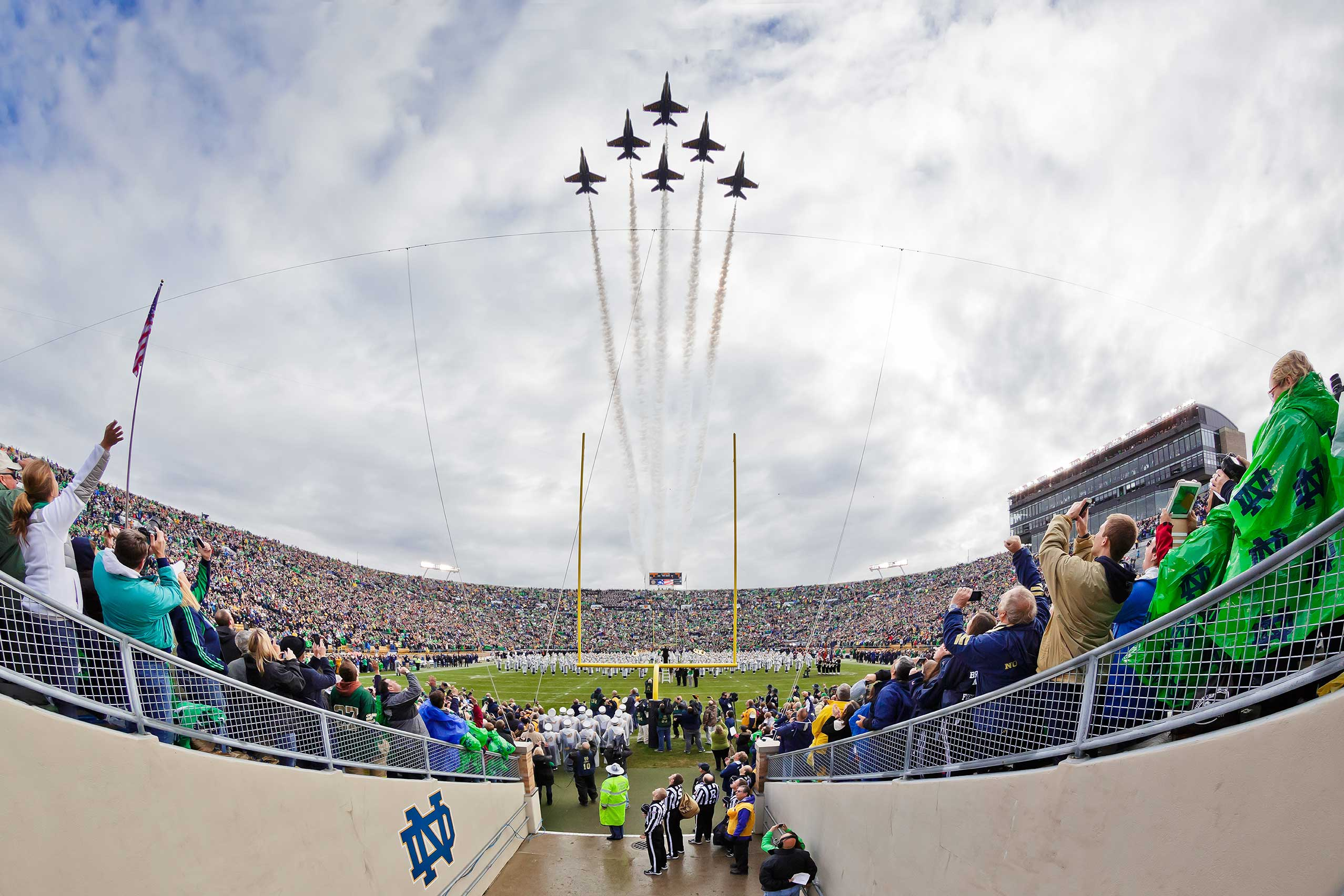 Nov. 2, 2013; The Blue Angels fly over Notre Dame Stadium before the Navy game, 2013.