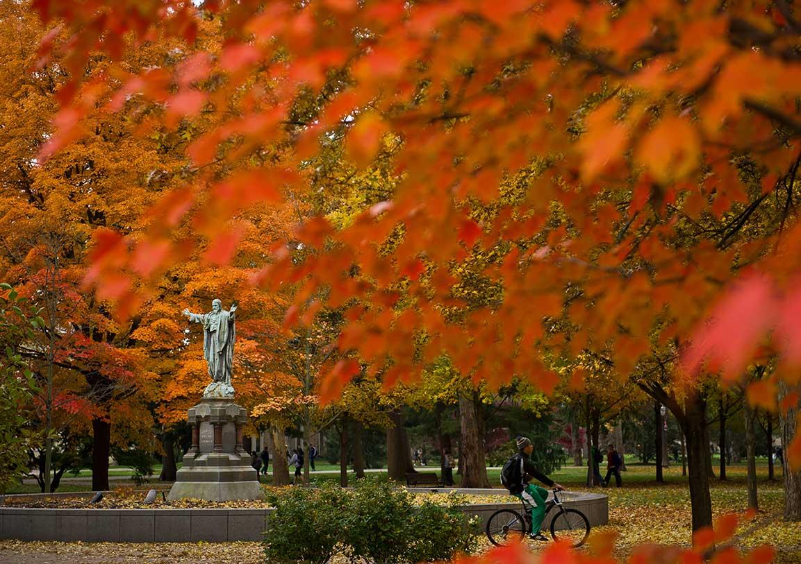 Nov. 5, 2013; Jesus statue on Main Quad. Photo by Matt Cashore/University of Notre Dame
