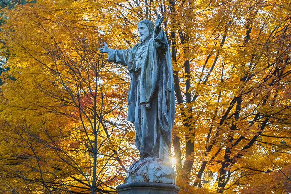Nov. 7, 2013; Jesus statue on the Main Quad. Photo by Barbara Johnston/University of Notre Dame