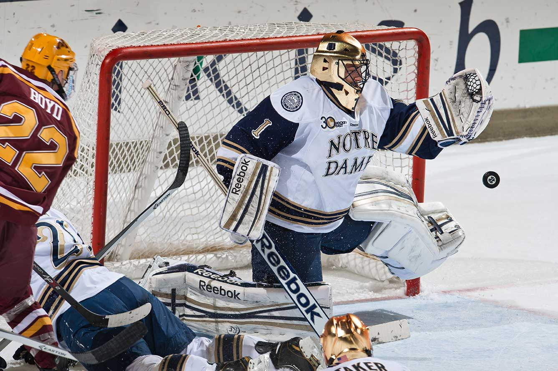 Nov 8, 2013; Hockey vs Minnesota, goalie Steven Summerhays (1).