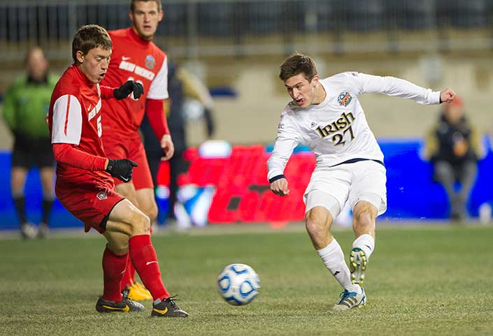Dec. 13, 2013; Notre Dame midfielder Patrick Hodan scores against New Mexico in the first half of the College Cup semifinals at PPL Park in Chester, Pa. Photo by Barbara Johnston/University of Notre Dame