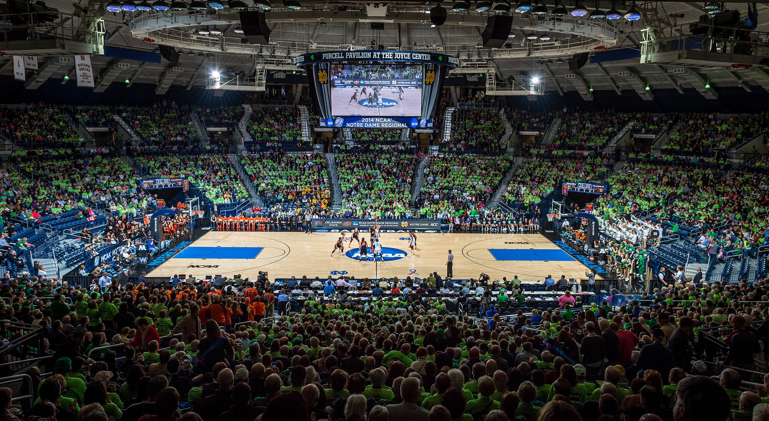 Mar 29, 2014; Tipoff of the regional semifinal game against Oklahoma State. Notre Dame won 89-72.