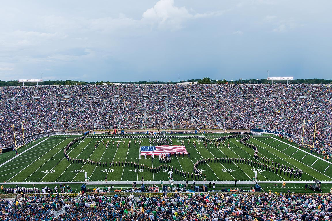 The Notre Dame Marching Band performs at halftime. Photo by Matt Cashore