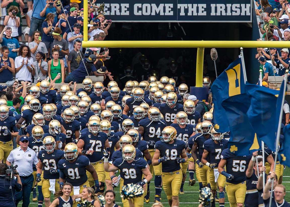 "Nothing says ""Here Come The Irish"" quite like a sign that says ""Here Come The Irish."" Photo by Matt Cashore"