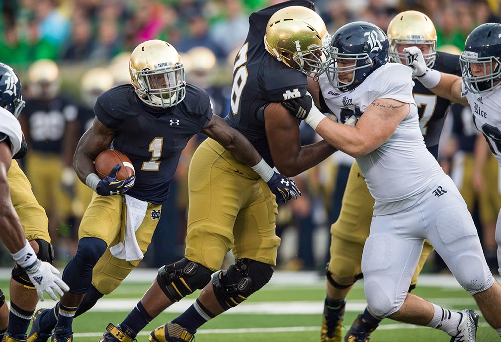 Offensive lineman Ronnie Stanley (78) blocks for running back Greg Bryant (1) Photo by Matt Cashore