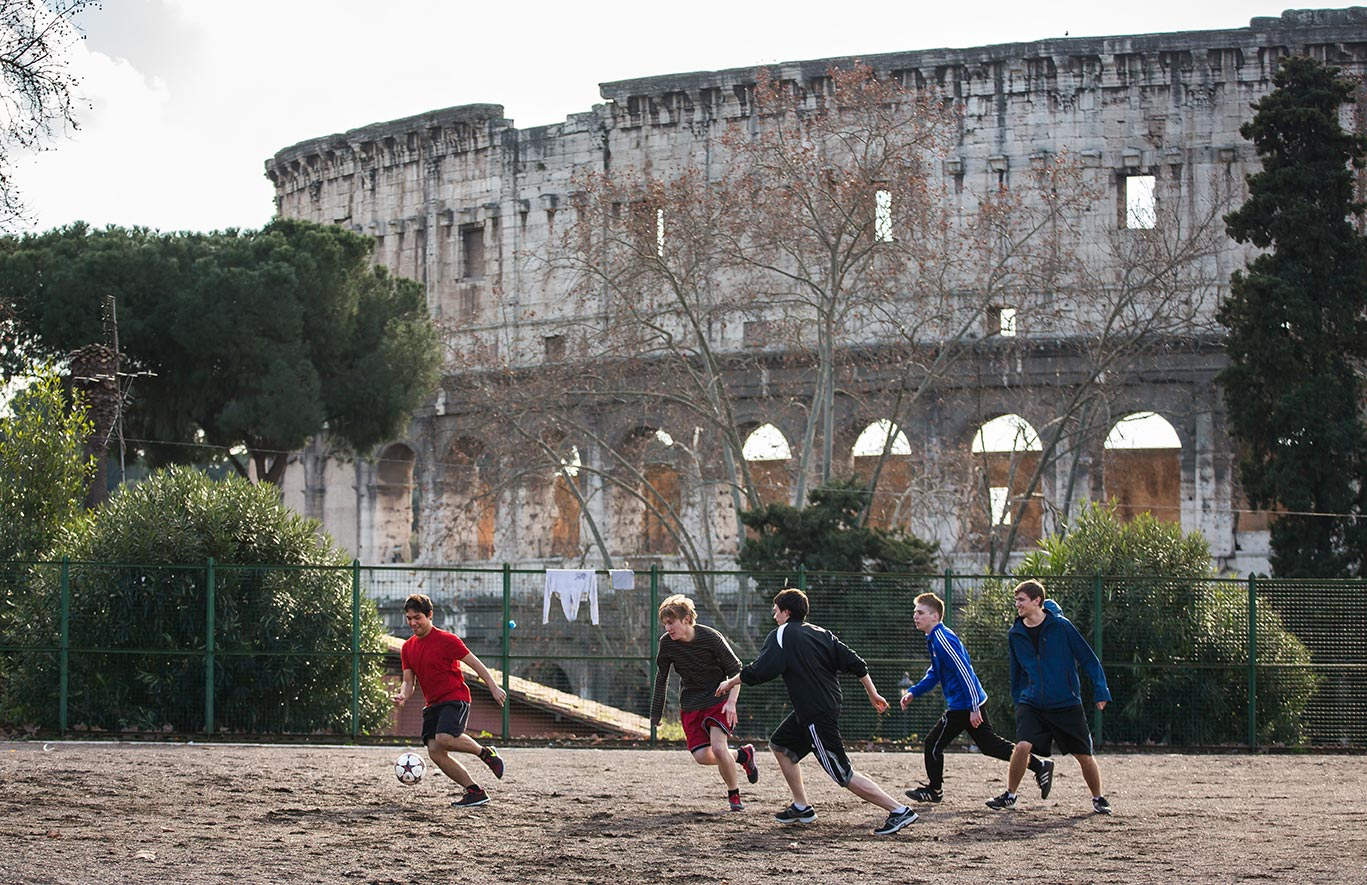 Jan. 28, 2014; Undergraduate School of Architecture students (from left to right) Eduardo Oronia, Andrew Packey, Chris Lattimer, Joseph Abbamonte, and Michael Langer play soccer next to the Colosseum, near the Notre Dame Rome Centre.