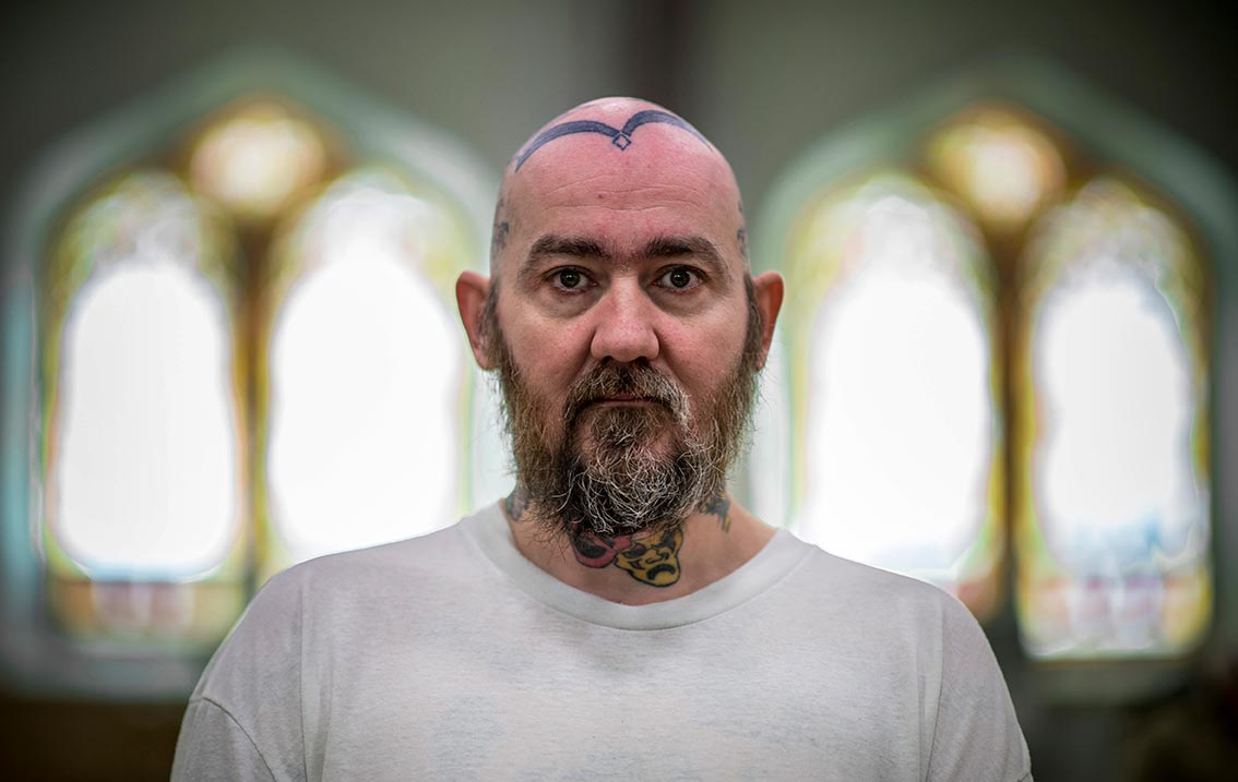 Feb. 17, 2014; Portrait of an inmate taken inside the St. Dismas Catholic community center after mass with Fr. David Link at the Indiana State Prison in Michigan City. Photo by Barbara Johnston/University of Notre Dame