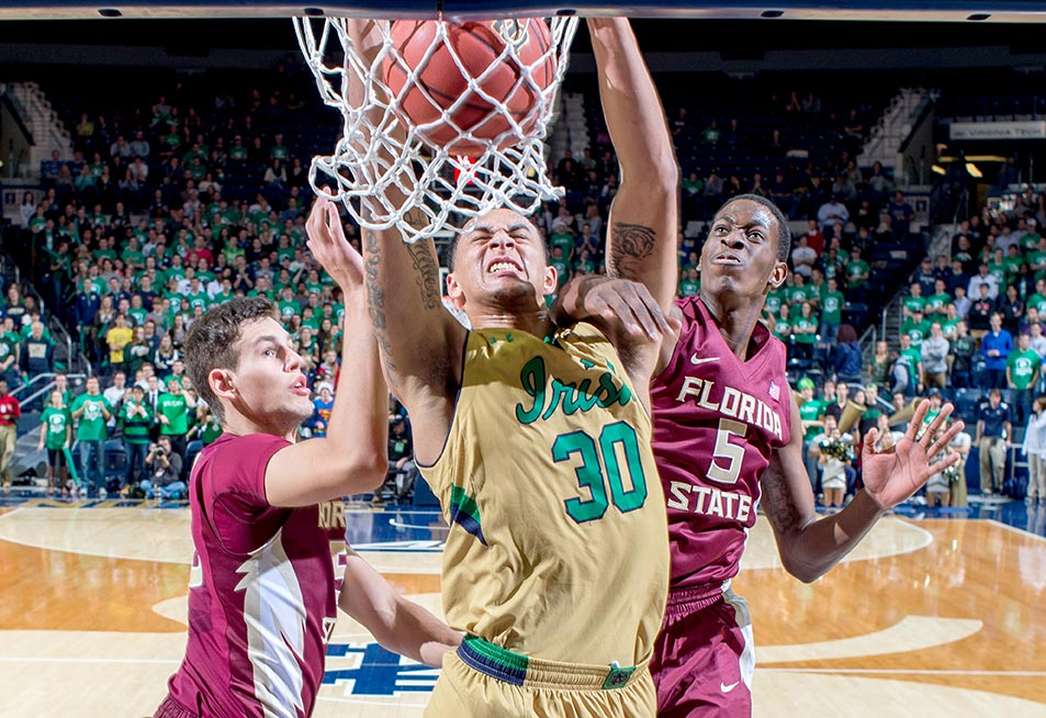 Dec. 13, 2014; Zach Auguste (30) dunks in the second half against Florida State. Notre Dame won 83-63. (Photo by Matt Cashore)