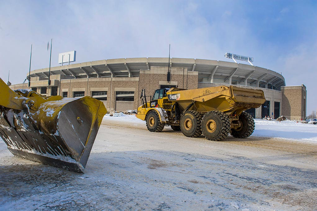 Jan. 9, 2015; Campus Crossroads construction. (Photo by Barbara Johnston/University of Notre Dame)