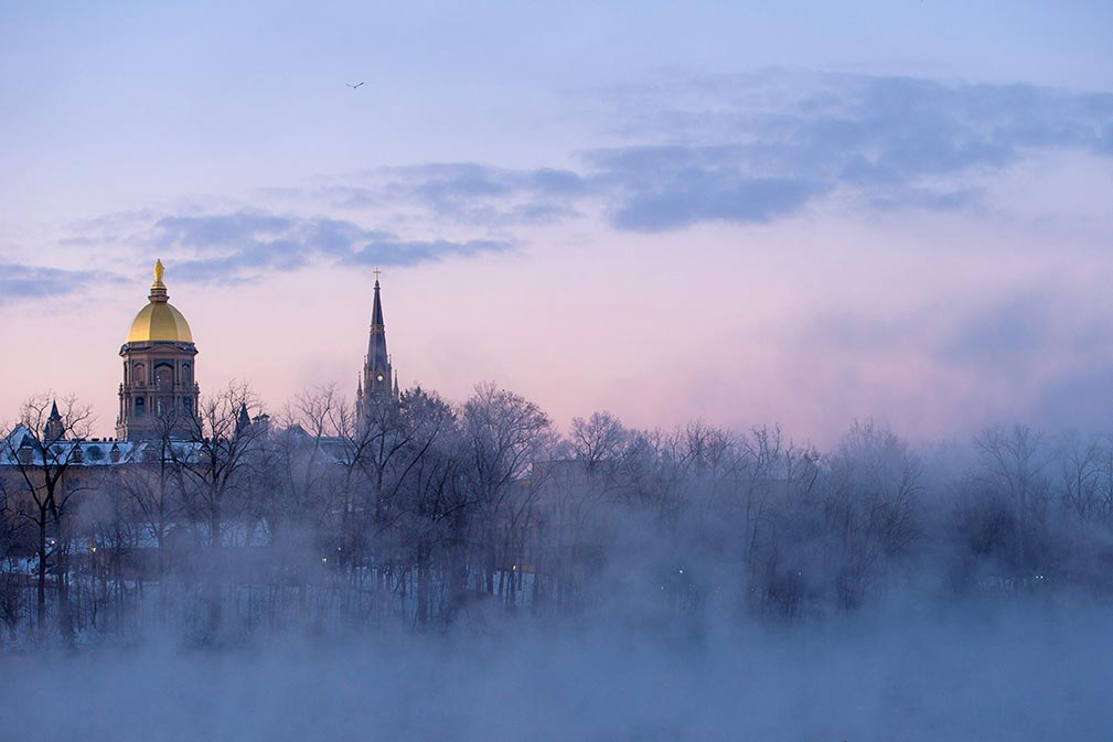 Feb. 27, 2015; Sunrise over campus. (Photo by Matt Cashore/University of Notre Dame)