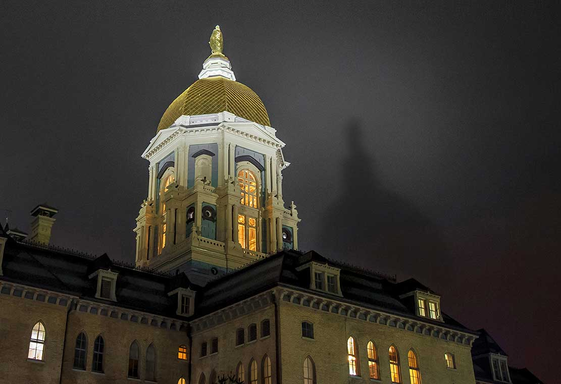 Apr. 7, 2015; The Dome casts a shadow on the bottom of low clouds. (Photo by Matt Cashore/University of Notre Dame)