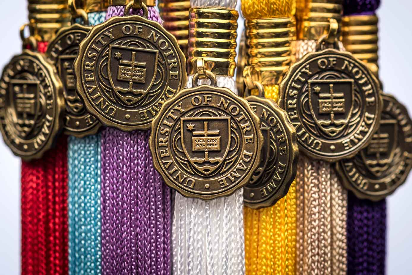 May 13, 2015; Tassels representing areas of study (Photo by Matt Cashore/University of Notre Dame)