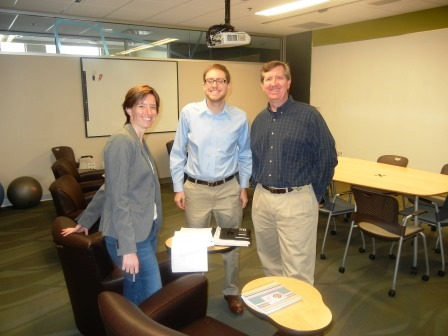 Karen, MS in Patent Law student Josh, and Michael
