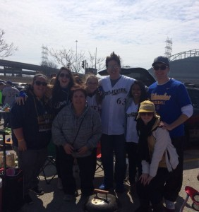 Friends and family tailgating before watching the Milwaukee Brewers on Opening Day, 2015.