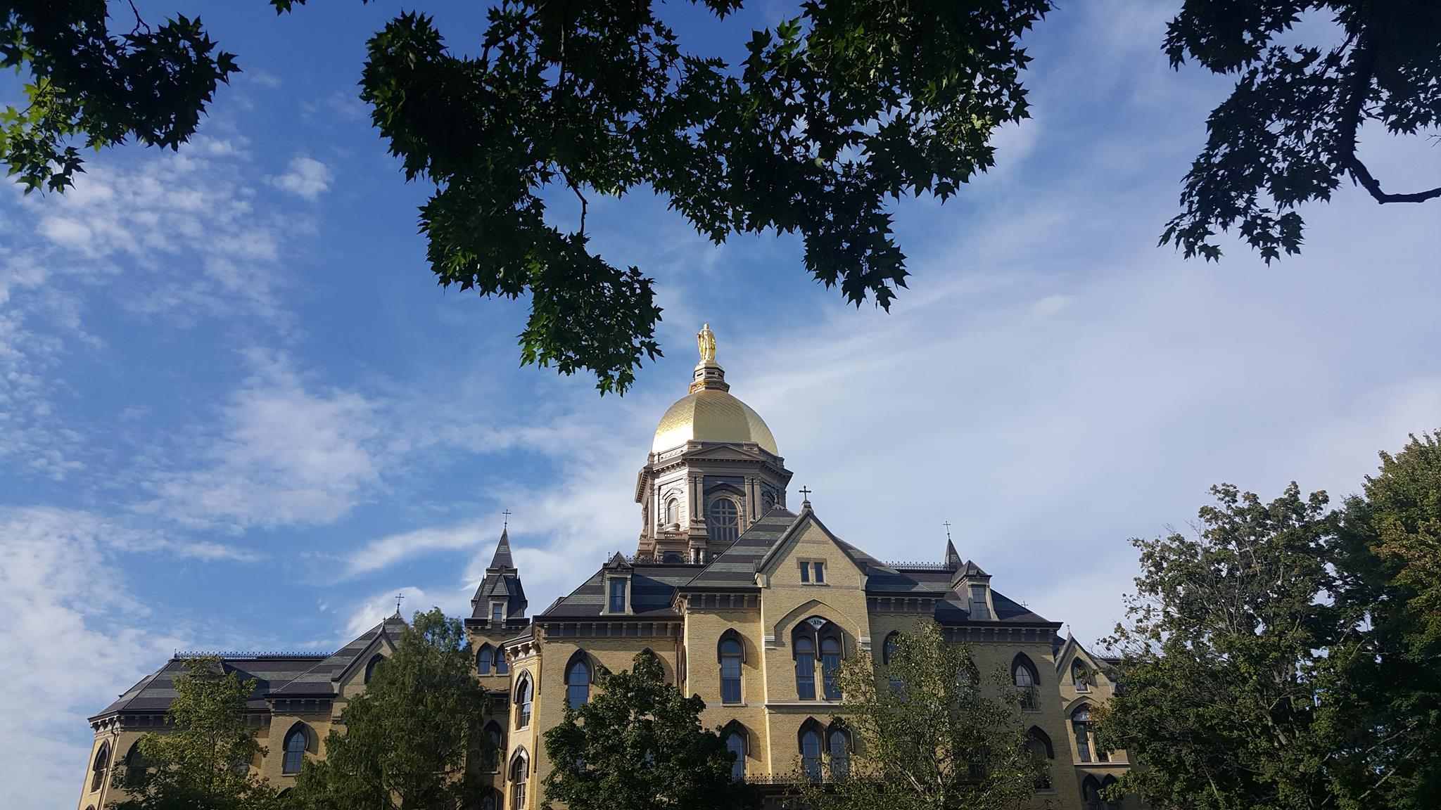 The Golden Dome of the Main Administration Building at Notre Dame