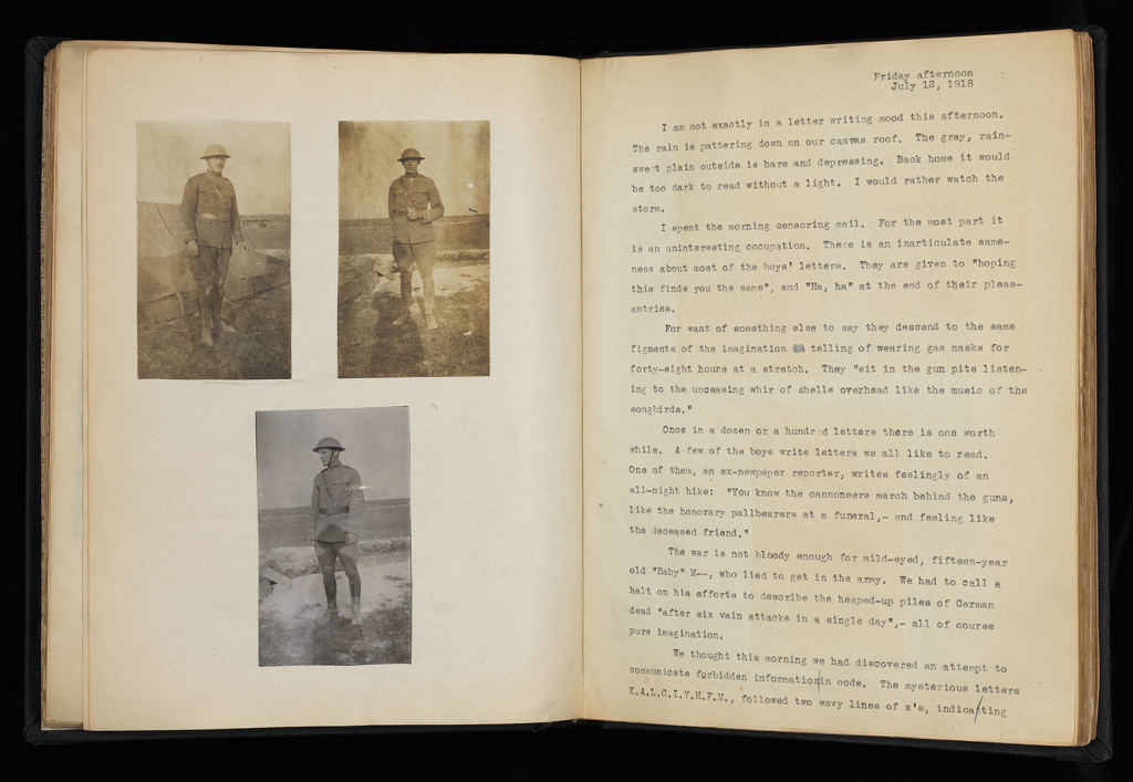 Opening, three full length portraits of soldiers at left (two and one), text from July 12, 1918, at right.