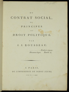 Title page from a 1795 copy of Jean-Jacques Rousseau's Du Contrat social.