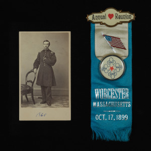 Carte-de-visite Portrait of Lt. James C. Woodworth, 1865, and 25th Massachusetts Infantry annual reunion ribbon, October 17, 1899.
