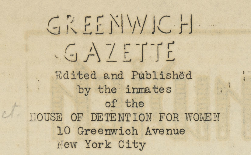 Writing to Rehabilitate in the House of Detention for Women in New York City