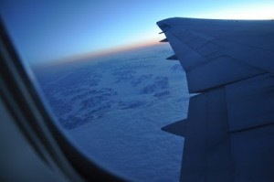 View of Greenland out of plane window