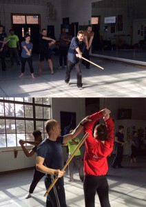 Charles Armstrong (top) and Michael Palmer (bottom) teach in John O'Hagan's stage fighting class.
