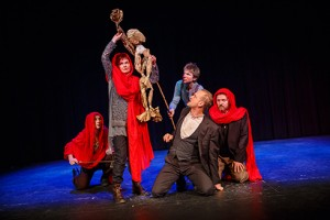 The witches (in red) in AFTLS's production of MACBETH  (pictured L-R): Joanna Bending, Annie Aldington, Ben Warwick, Michael Palmer, and Charles Armstrong