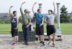 "From left, Xavier Blevel, Anthony Murphy, Quint Mediate and Damian Leverett perform a ballet scene Thursday, July 9, 2015, during rehearsal outside the DeBartolo Performing Arts Center for the upcoming Notre Dame Shakespeare Festival's Young Company production of ""Love's Labor's Lost."" SBT Photo/GREG SWIERCZ"