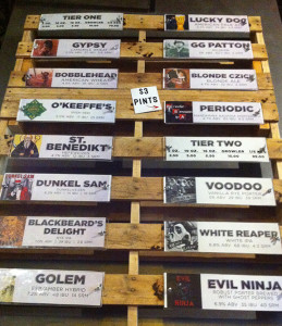 The craft beer list at South Bend's Evil Czech Brewery