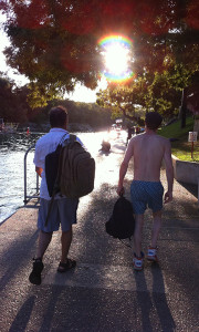 Chris Donnelly and Sam Collings walking into the Sunset at Barton Springs