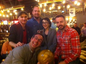 Clockwise from Left: Sam Collings, asst. professor Evans Jarnefeldt, Claire Redcliffe, Patrick Moy, and Chris Donnelly.