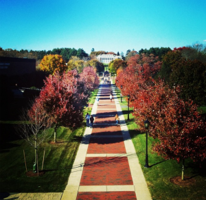 The idyllic campus of Stonehill College in Easton, MA