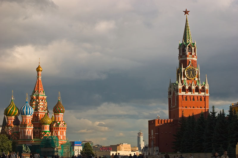 St. Basil's Cathedral and Spasskaya Tower of Kremlin, Red Square by Dmitry Azovtsev (Wikimedia)