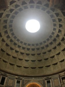 The light bursting through the dome of the Pantheon.