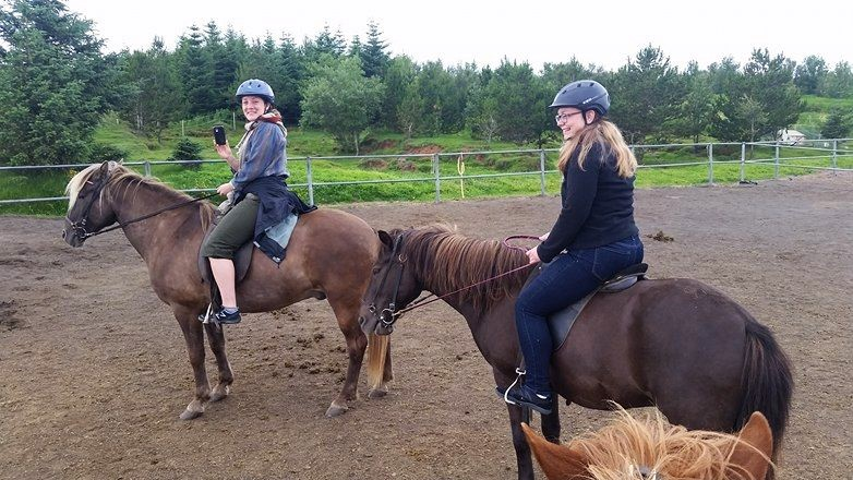 Amy Bloch (left), a friend of mine from the program, and me (right) on the famous Icelandic horses. Photo credit: Courtney Cook
