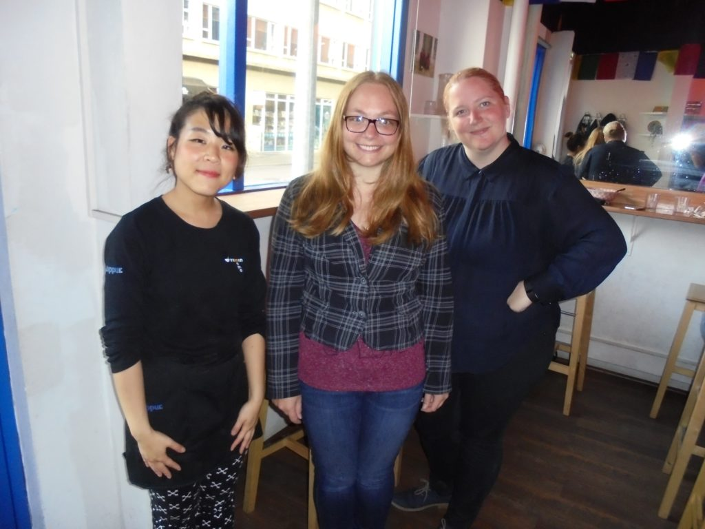 Left to right: Momo, me, and Courtney Cook (another student learning Icelandic) in Momo Ramen.