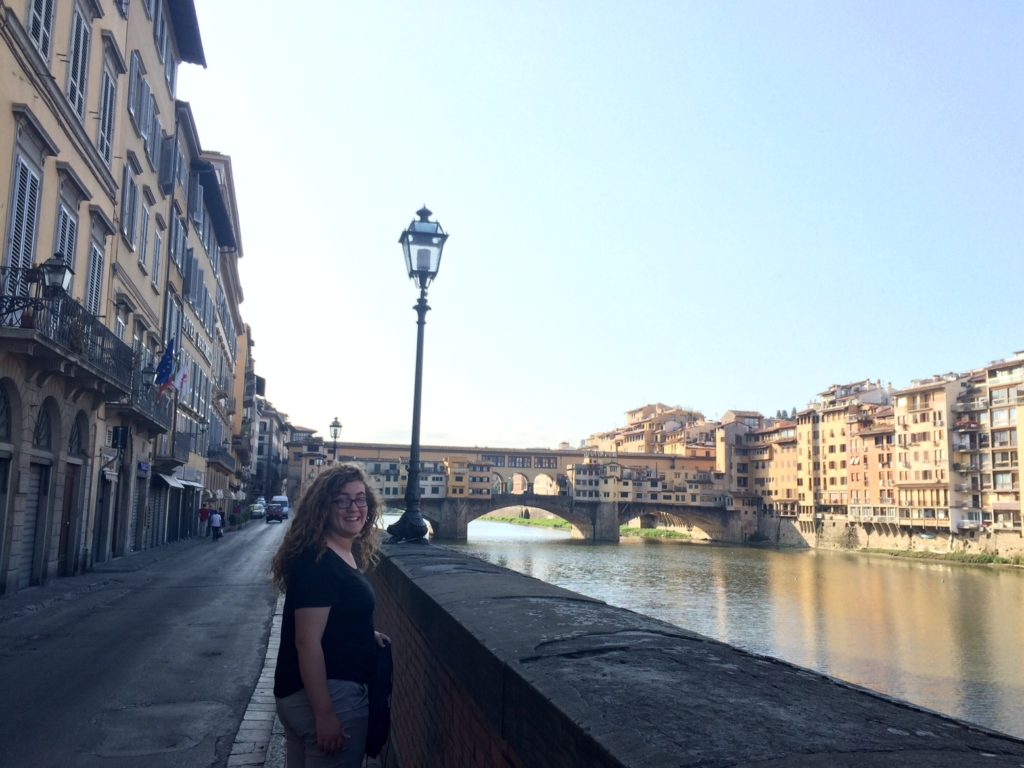An early morning walk along the Arno River in Florence, on our way to the Uffizi!