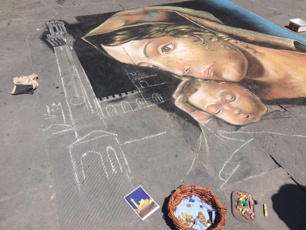 A beautiful chalk painting on a street in Siena!