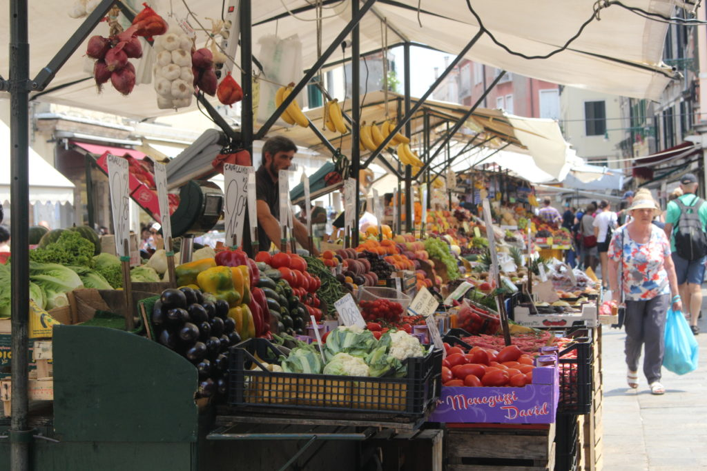 A vibrant fruit market in Venice that I found as I walked from the station