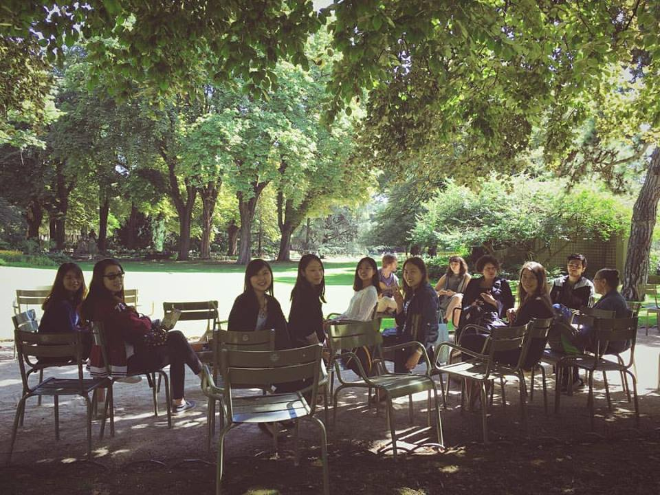 "The Entire Class in Jardin du Luxembourg for a ""Farewell"" Picnic"